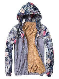 Veste Zippée Imprimée Florale à Doublure Molletonnée - Gris Xl