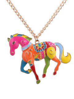 Colorful Pony Embellished Pendant Necklace