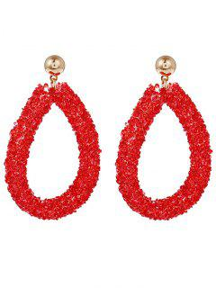 Artificial Diamond Circle Drop Earrings - Red