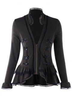 Plus Size Lace Trimmed Criss Cross-Jacke Mit Reißverschluss - Rauchgrau 5xl