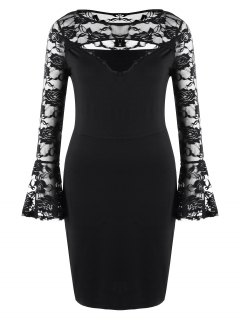 Plus Size Lace Insert Cut Out Mini Dress - Black 2xl