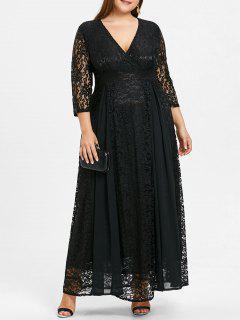 Plus Size Empire Waist Lace Surplice Dress - Black 3xl