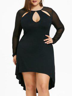 Plus Size Sheer Keyhole High Low Dress - Black Xl