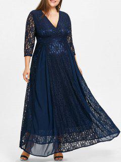 Plus Size Empire Waist Lace Surplice Dress - Blue 3xl