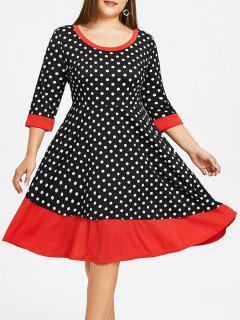 Vestido De Bloque De Color A Lunares Talla Grande - Negro 5xl