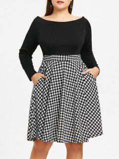 Plus Größe Aus Dem Schulter Houndstooth Dress - Schwarz 5xl