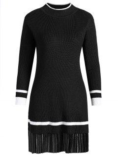 Plus Size Velvet Panel Knitted Dress - Black 4xl