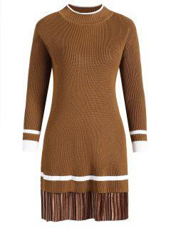 Plus Size Velvet Panel Knitted Dress - Dark Camel 2xl