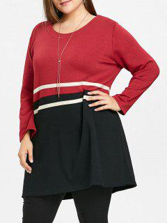 Plus Size Casual Striped Tunic Top - Wine Red 4xl