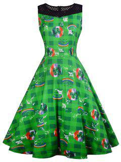 Vintage Plaid Leaf Rainbow Print Dress - Green S