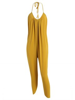Halter Drawstring Backless Jumpsuit - Mustard L