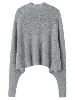 Dolman Sleeve Plain Sweater - Gray