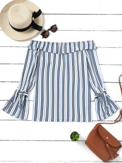 Flare Sleeve Stripes Off Shoulder Blouse - Stripe M