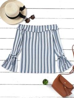 Flare Sleeve Stripes Off Shoulder Blouse - Stripe Xl