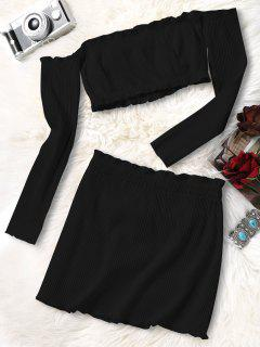 Knitted Cropped Off Shoulder Top And Bodycon Mini Skirt - Black S
