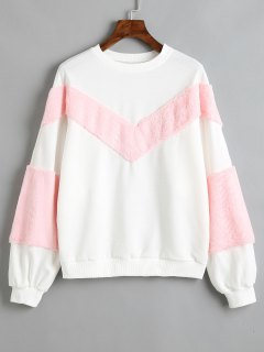 Contrasting Textured Panel Sweatshirt - White S