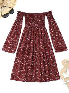 Floral Smocked Off Shoulder Mini Dress - Wine Red L