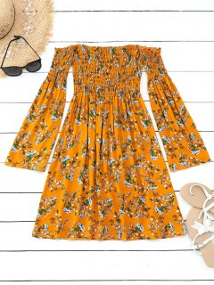 Floral Smocked Off Shoulder Mini Dress - Mustard L