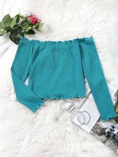 Knitted Piped Off Shoulder Top - Blue Green