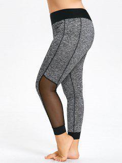 Plus Size Mesh Insert Heathered Leggings - Gray 2xl