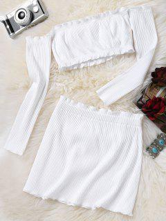 Knitted Cropped Off Shoulder Top And Bodycon Mini Skirt - White M