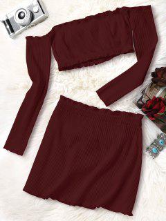 Knitted Cropped Off Shoulder Top And Bodycon Mini Skirt - Wine Red L