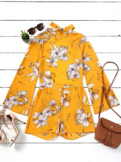 Floral Bowknot Open Back Romper - Yellow Xl
