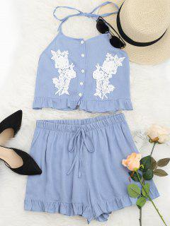 Halter Lace Panel Top And Shorts Set - Cloudy L