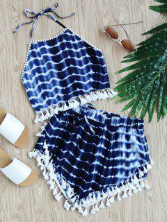 Krawatte Gefärbt Fransen Top Und Hoch Taillierte Shorts Set - Blau S