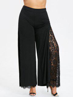 Plus Size High Slit Lace Palazzo Pants - Black 5xl