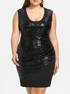 Vestido De La Envoltura De Las Lentejuelas Del Brillo Sin Mangas Más Tamaño - Negro 5xl