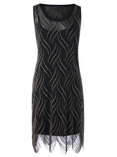 Plus Größe Glitzernden Scalloped Edge Dress - Schwarz 5xl