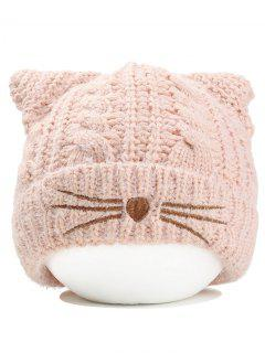 Cute Kitty Ear Decorated Crochet Knitted Beanie - Pink