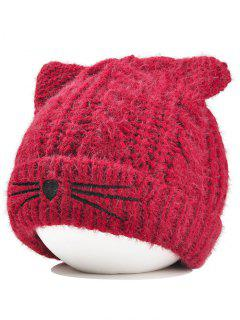 Cute Kitty Ear Decorated Crochet Knitted Beanie - Wine Red