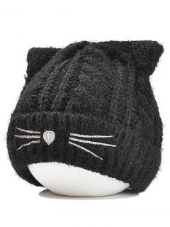Cute Kitty Ear Decorated Crochet Knitted Beanie - Black