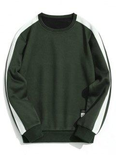 Fleeced Two Tone Sweatshirt - Army Green L