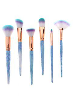 Set De Pinceles De Maquillaje Con Mango Impreso De Resina Profesional De 6 Piezas - Azul Claro