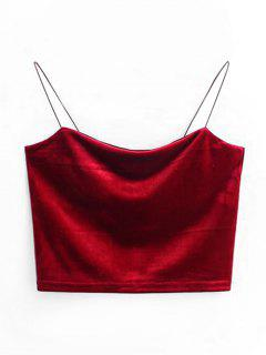 Cropped Velvet Tank Top - Wine Red