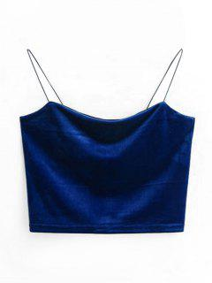 Cropped Velvet Tank Top - Purplish Blue