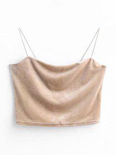 Cropped Velvet Tank Top - Light Khaki