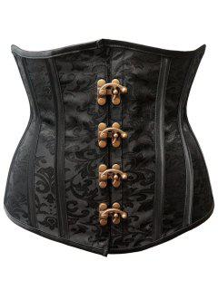 Lace Up Strapless Waist Training Corset - Black 2xl