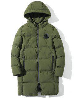 Manteau Matelassé Applique à Longue Ligne Zippé - Vert Armée L