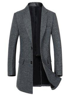 Manteau Simple Poitrine Fente Arrière En Laine - Gris 2xl