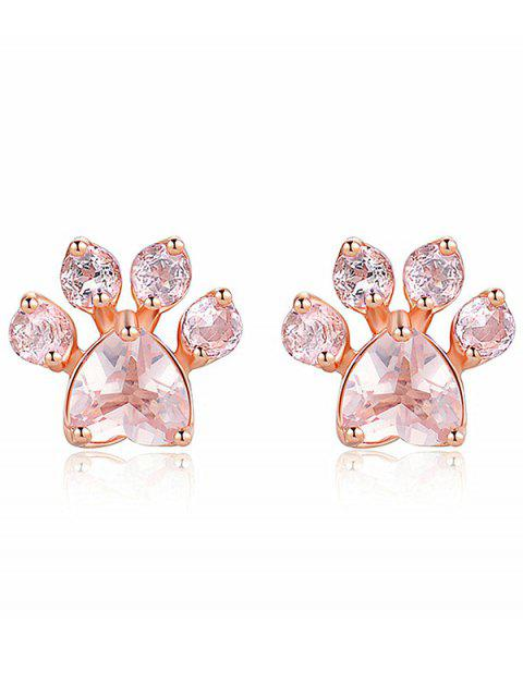 affordable Kitty Paw Fake Diamond Stud Earrings - ROSE GOLD  Mobile