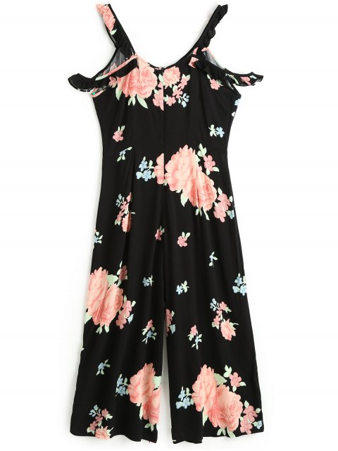 lady Floral Ruffles Cold Shoulder Jumpsuit - BLACK S Mobile