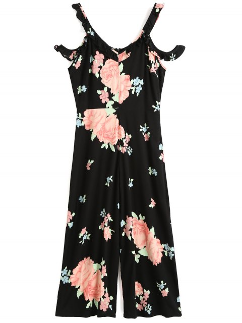 best Floral Ruffles Cold Shoulder Jumpsuit - BLACK M Mobile