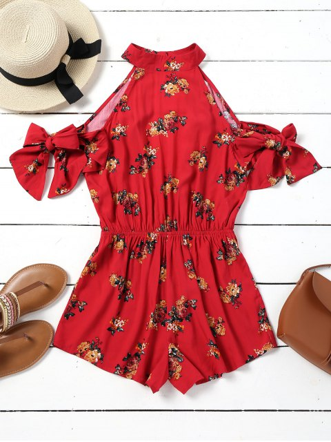 fashion Cut Out Floral Cold Shoulder Romper - RED XL Mobile