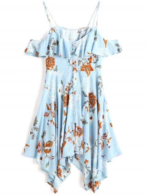 fancy Floral Button Up Cold Shoulder Midi Dress - LIGHT BLUE M Mobile