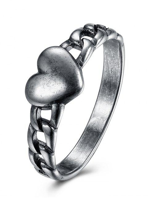 online Vintage Heart Chain Ring - SILVER 6 Mobile