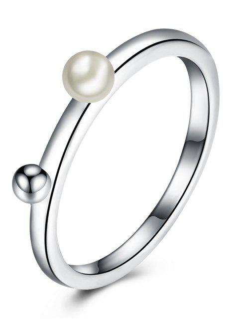Anillo de dedo de la bola de aleación de perlas artificiales - Plata 6 Mobile